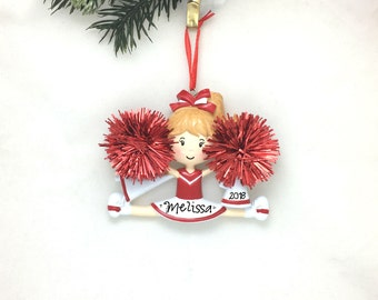Cheerleader Christmas Ornament / Cheerleading Ornament Red and White / Personalized Christmas Ornament / Cheer Team Ornament