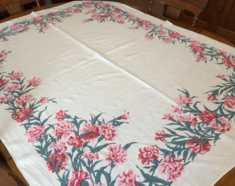 Carnations Linen Tablecloth, Vintage PInk Floral Creamy White, Cottage Kitchen, 52 x 66