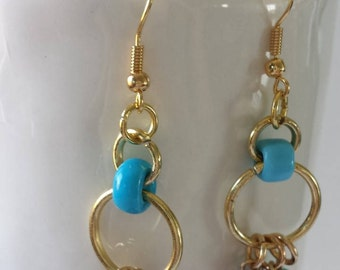 Multi-Colored Dangle Beaded Earrings