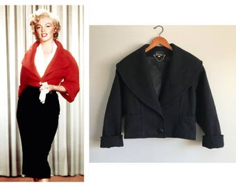 Vintage Black Wool Jacket Bolero Cropped Blazer Coat Tailored Wide Shawl Collar Over Sized 1980s does 1950's Women's Size Small Medium Large