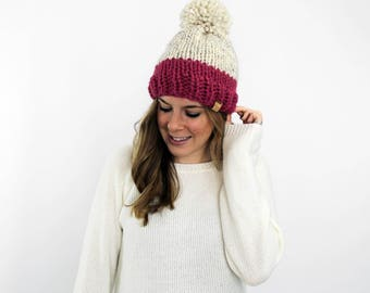 Chunky Knit Hat, Knitted Hats Pom, Bobble Hat Slouchy Beanie- Annapolis Hat