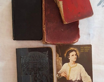 1916 -1947 Lot of 4 Catholic Missals and 1 Golden Sunday School Booklet
