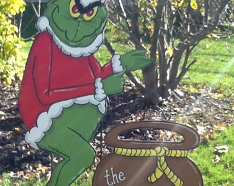 Grinch Stealing Christmas Lights- Christmas Yard Art