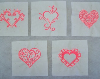 Set of 5 Embroidered Heart Quilt Blocks
