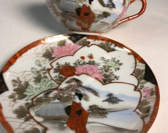Hand painted Japanese tea cup and saucer set