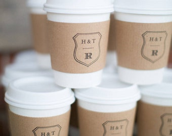 Set of 50 - Paper Cups, Lids and Custom Sleeve - Coffee Bar - Hot Chocolate Favors