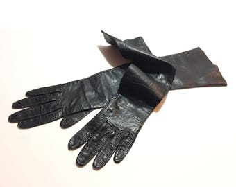 Black Kid Gloves, Leather Evening Gloves, Size 6 Women's Long Gloves, Jet Black Leather Gloves, Mid-Century Ladies Formal Gloves, 1950/1960s