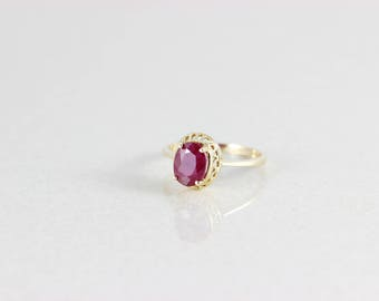 10k Yellow Gold Natural Ruby Ring Size 7 1/2