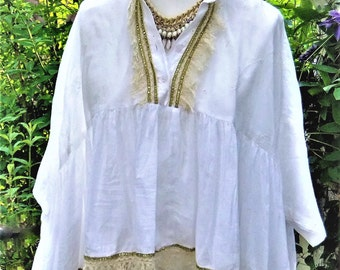 Tunic white Freesize wide blouse size 38, 40, 42, 44, M, L, XL, XXL