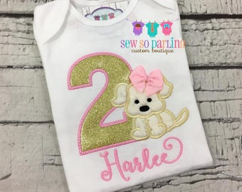 Girls Puppy Birthday shirt - Pink and gold Puppy Birthday - Girl 1st Birthday Shirt - 2nd Birthday Puppy Shirt -  Dog birthday Shirt-ANY AGE