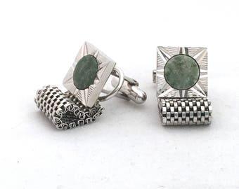 Vintage Green Stone Silver Tone Mesh Wrap Around Cufflinks, Square Set Men's Accessories, Black Tie, Steampunk, Gentleman, Men's Jewelry