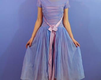 1950's Lovely Lavender Chiffon Party Dress - SMALL
