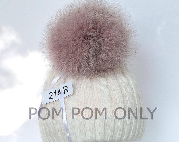 "6"" SUPER THICK, LARGE Pom Pom! Fox Fur Pom Pom, Pink Pom-Pom, Real Fur Pom Pom, Winter Hat Pom Pom, Women Pom Pom Hat, Knitted hat, Child"