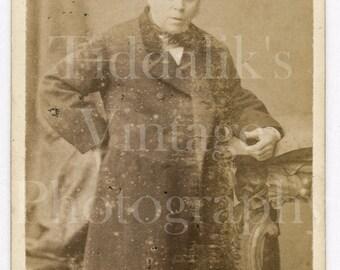 Carte de Visite CDV Photograph Victorian Standing Old Man Portrait Long Coat Portrait- John Thomas of Liverpool England - Antique Photograph