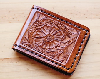 Sheridan Wallet Hand Carved Leather Wallet Gift For Dad Leather Card Holder Leather Bifold Wallets Hand Tooled Leather Husband Gift Billfold