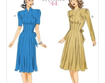 6485, Butterick,  Retro, 1944 Dress, Colorblock Jacket, Skirt, 1940's dress, 40's dress, Vintage Style, Reproduction pattern, tuck, Gather