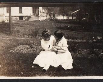 Vintage Snapshot Photo Affectionate Girlfriends Share a Secret 1900's, Original Found Photo, Vernacular Photography