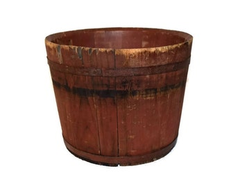Primitive Red Painted Sap Bucket, Wood Sap Bucket 19th Century