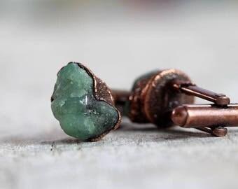 Emerald Cufflinks Groomsmen Gift Graduation Raw Crystals Copper Cufflinks Electroformed Cufflinks Green Cufflinks Best Man Wedding Gift