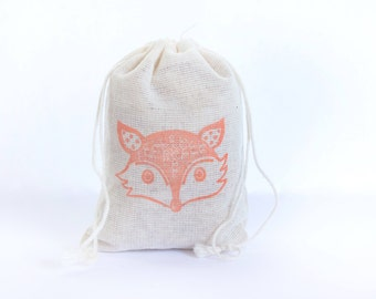 Fox Face Bag 6 with stamp gift sack birthday party baby shower goodies woodland treat bag