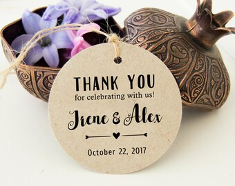 Wedding Thank You Tags, Rustic Favor Tags, Thank You Wedding Tags, Favor Bag Tags | Bridal Favor Tags,  24 pcs