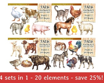 FULL PACK Farm Animals Clipart, Digital Watercolor Illustration, Animal Clip Art, Hand-painted, Realistic Animal Stock, Commercial use