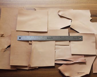 1lb Leather Scraps, Big size thick pieces, Vegetable Tanned Leather Luxury Tooling Leather Leather Remnants, full grain, various large sizes