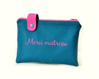 Trousse en tissu personnalisée, trousse bleu canard en coton, pochette à offrir citation, trousse simple, coton épais, cadeau fête des mères