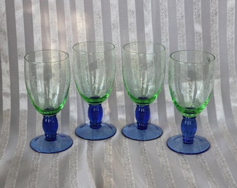 RESERVED FOR MELODIE ~ Four (4) Pfaltzgraff, Cut Glass/Etched, Green & Blue Iced Tea Glasses ~ 17 Ozs ~ Boxed Summer Breeze ~ Wine, Water