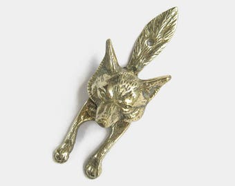 Antique Solid Brass Fox Door Knocker   Architectural Salvage Animal Gold  Bronze Coloured Hunting Lodge Cottage