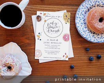 Baby Shower Brunch - Watercolor Shower Invitation - Customized Printable Digital Download