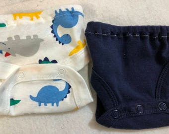 Baby Doll Diaper Covers, Panty, 15 inch AG Bitty Baby Clothes or Twin, Fits 16 inch Cabbage Patch Doll, SET of 2 for 3.00, DINOSAURS & Blue