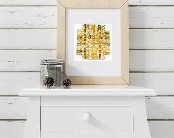 Yellow Paper Weaving- 9x9 -Original Abstract Watercolor- Paper Art- Gold, Ochre, White, Grey- Handwoven Art- 9x9