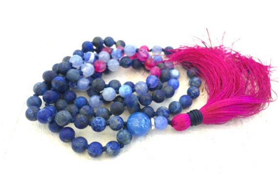 Mala To Keep Negative Energy Away, Lapis Lazuli Mala Necklace, Mala For Friendship, 108 Mala Bead Necklace, Yoga Mala Beads, Hand Knotted