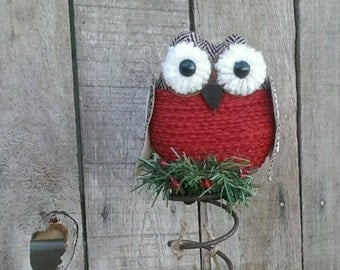 Christmas Owl Tree Topper Bed Spring, Rustic Red  Owl  Holiday Decor