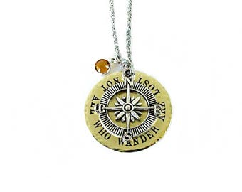 Brass Disc Necklace Not All Who Wander Are Lost Travel Gift Inspirational Brass Jewelry Birthstone Compass Charm Mixed Metal Design Handmade