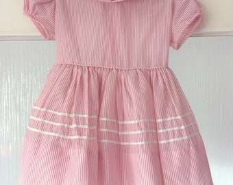 Vintage White Pink Toddler Dress Striped Size 2 Bow Baby Girl