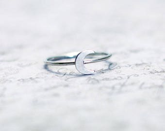 Crescent moon ring,moon stacking ring,moon ring,silver stacking ring, tiny moon ring, two tone ring, celestial ring