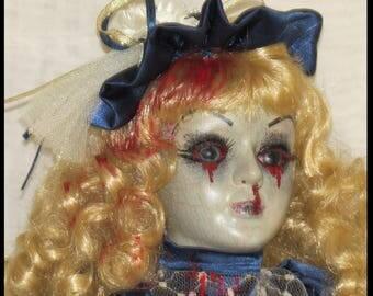 Gothic Horror Doll Victorian Horror Doll Zombie Bleeding Doll Halloween Horror Doll hand painted by SweetDarknessDesigns