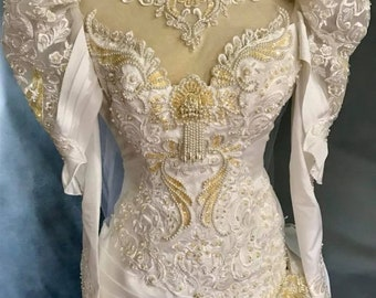 White Wedding Gown Vintage 80's Bridal Gown With Train San Martin Bridal Beaded Size 8