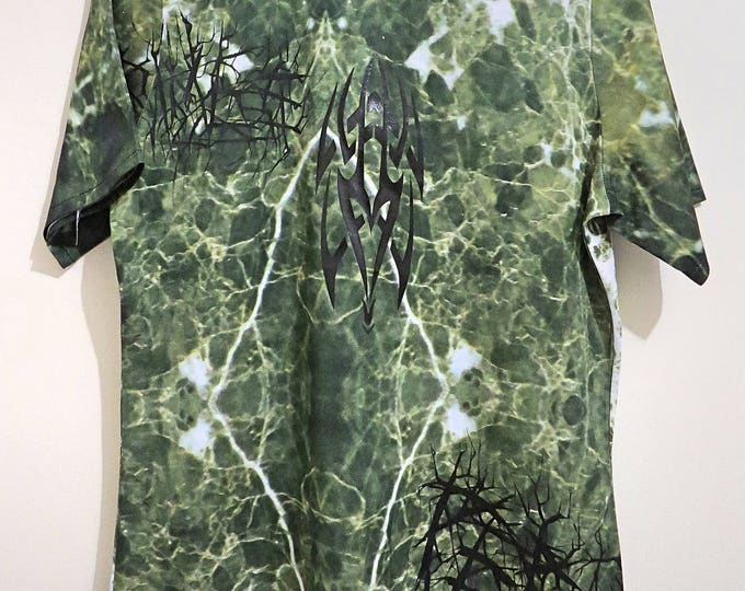 GR1M3S///printed green marble T-shirt