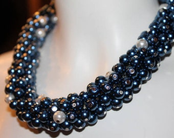 Jewelry Blue, Necklace Blue, Blue beaded Jewelry, blue beaded necklace, blue pearl jewelry, blue pearl necklace, blue pearl, blue bead, blue