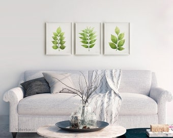 Botanical Print Set Of 3 Wall Art, Printable Leaves Gallery Wall  Collection, Living Room