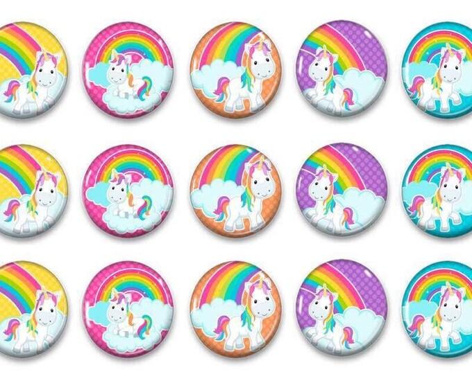 Unicorn Rainbow Magnets - Birthday Party - Party Favors - Refridgerator Magnets - Reward Magnets - Preschool Party - Fridge Magets