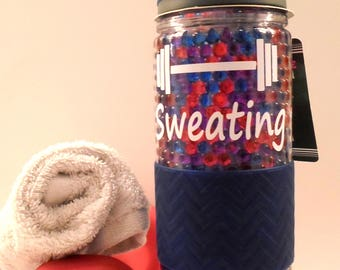 19oz gym Water Bottle / Sweating For the Wedding / Personalized Tumbler / Workout / tumbler / Custom Bottle / Freeze Gel / Insulated / Cold