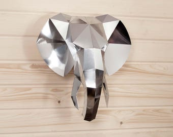 Elephant Paper trophy KIT | Elephant head | Mirror wall | Metal wall art | Low poly template  | Papercraft | Elephant baby shower | Chrome