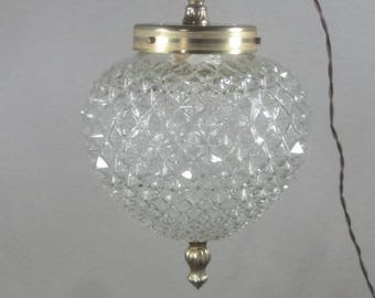 French vintage lighting, diamond cut glass, globe pendant light, lampshade, textured globe ceiling light, mid century, 1960's lighting.