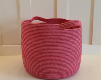 Extra Large Raspberry Rope Basket with Handles