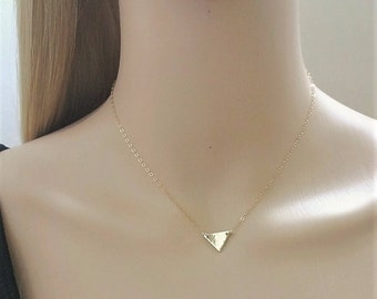14Kt gold-filled hammered triangle necklace; solid triangle necklace; small gold triangle necklace; hammered gold necklace