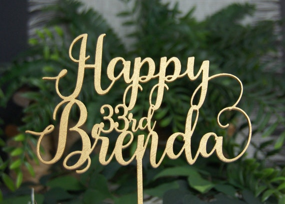 Personalized Happy Birthday Name Cake Topper Anniversary
